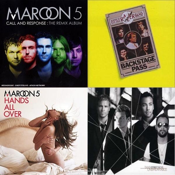 maroon 5 ,backstreet boys,panic at the disco,