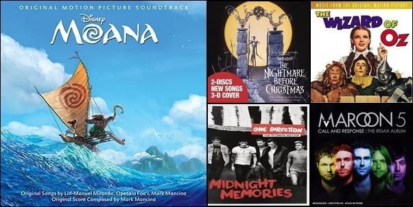 Disney, Top Hits, & Wizard of Oz